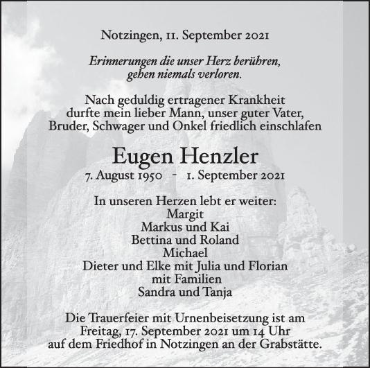 Trauer Eugen Henzler <br><p style=