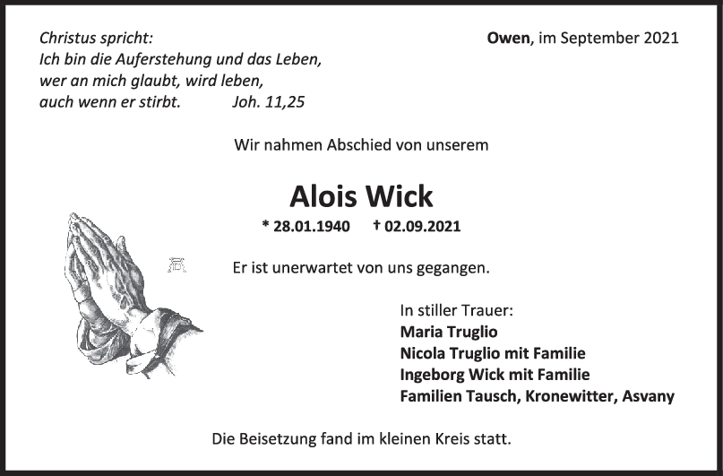 Trauer Alois Wick <br><p style=