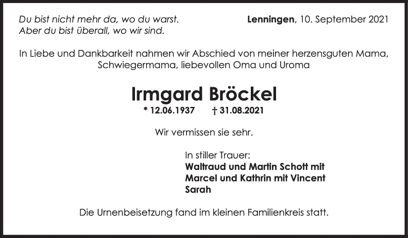 Trauer Irmgard Bröckel <br><p style=