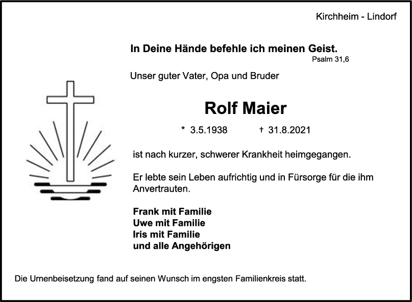Trauer Rolf Maier <br><p style=