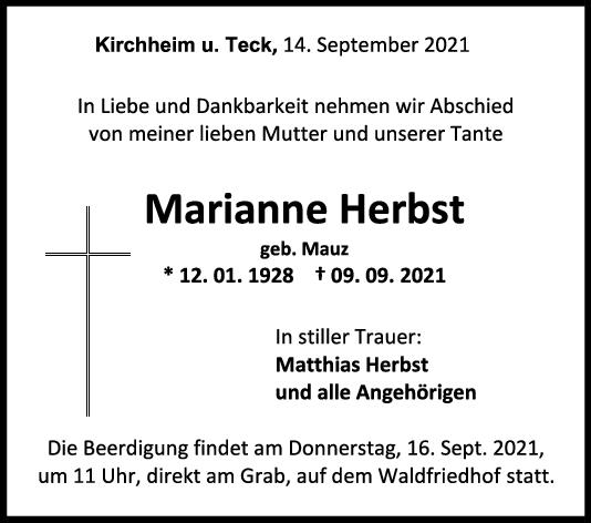 Trauer Marianne Herbst <br><p style=