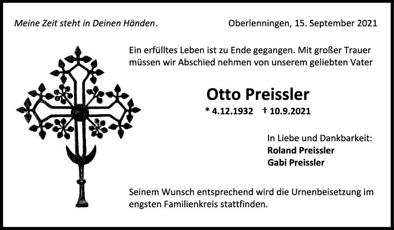 Trauer Otto Preissler <br><p style=
