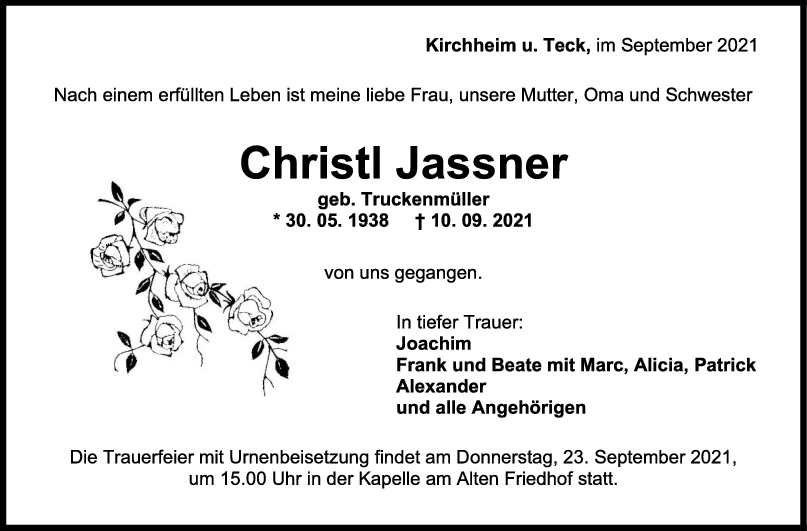 Trauer Christl Jassner <br><p style=