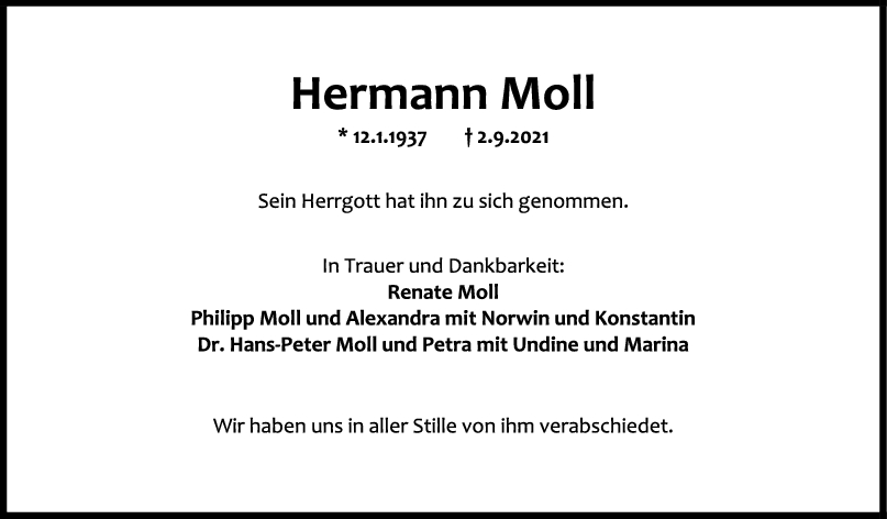 Trauer Hermann Moll <br><p style=