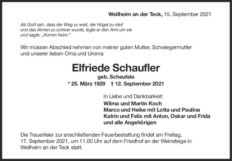 Trauer Elfriede Schaufler <br><p style=