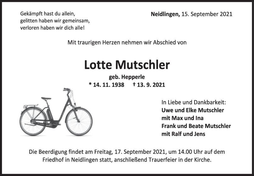 Trauer Lotte Mutschler <br><p style=