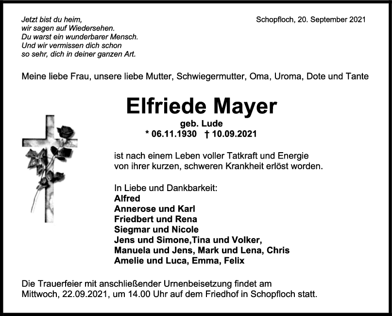 Trauer Elfriede Mayer <br><p style=