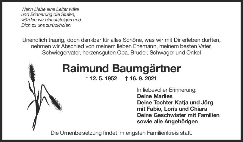 Trauer Raimund Baumgärtner <br><p style=