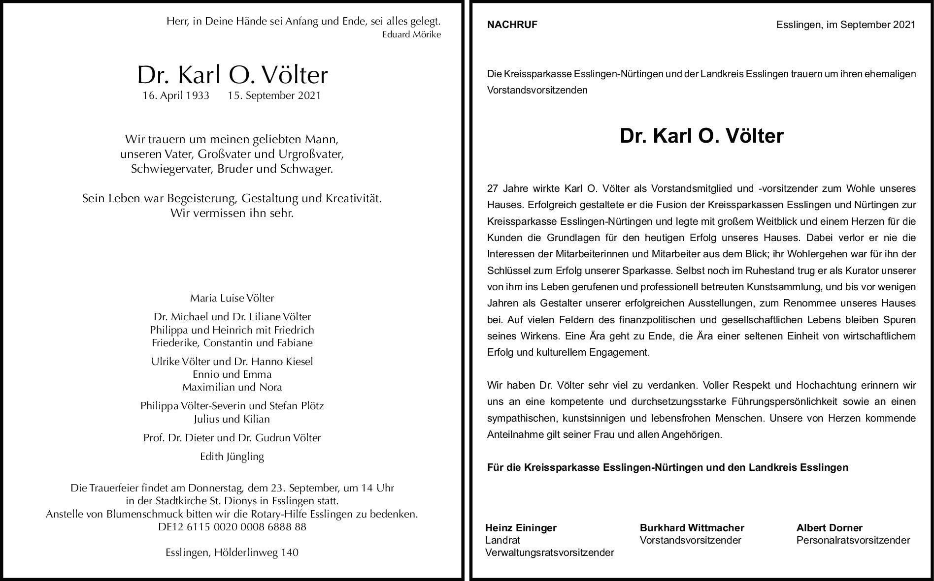 Trauer Dr. Karl Otto Völter <br><p style=