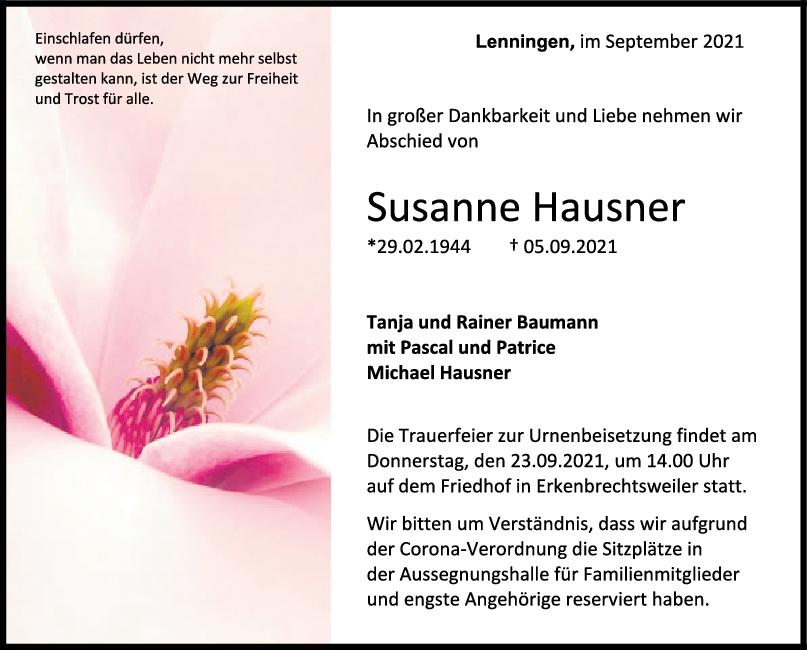 Trauer Susanne Hausner <br><p style=