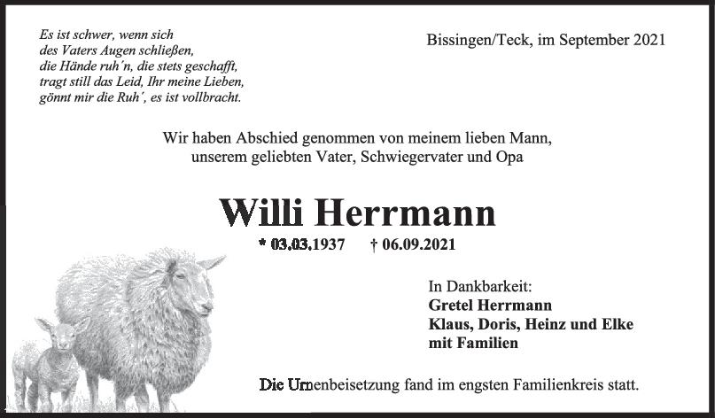 Trauer Willi Herrmann <br><p style=