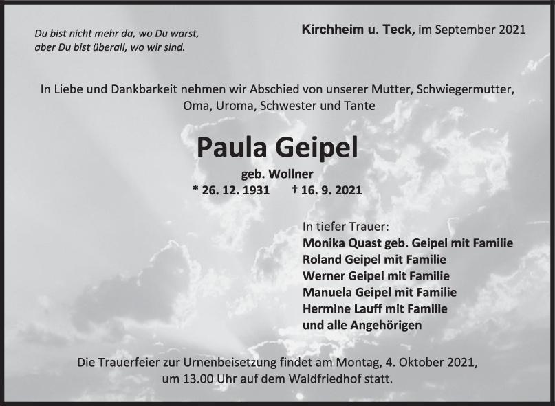 Trauer Paula Geipel <br><p style=