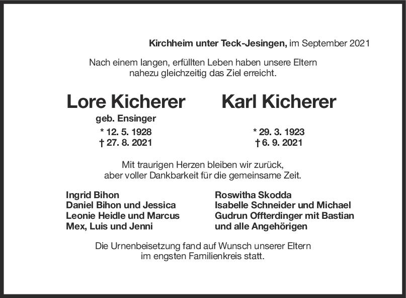 Trauer Lore und Karl Kicherer <br><p style=