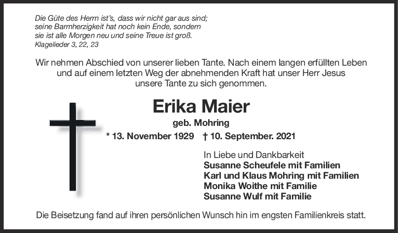Trauer Erika Maier <br><p style=