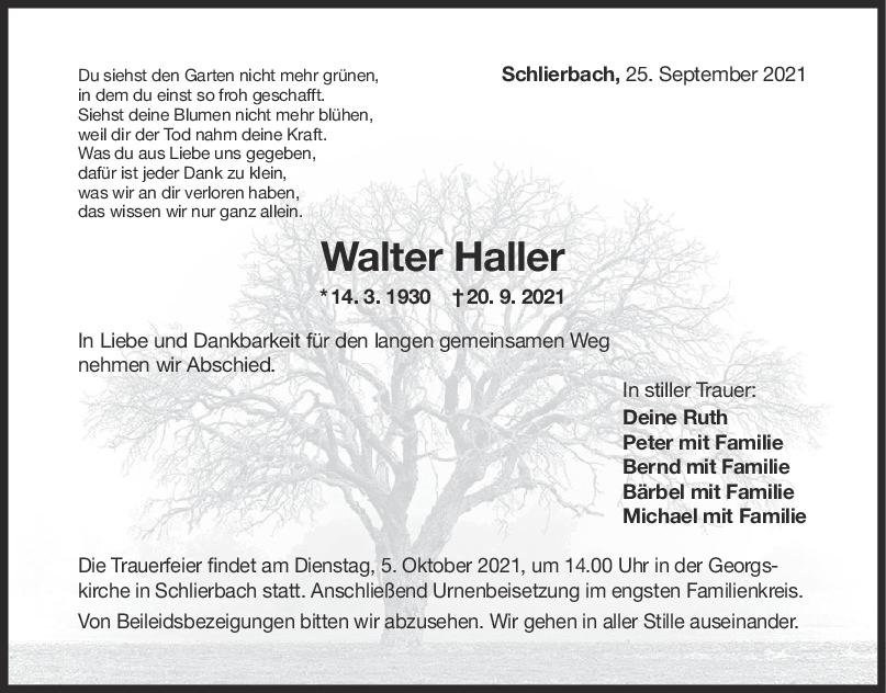Trauer Walter Haller <br><p style=