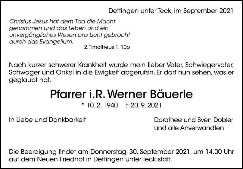 Trauer Werner Bäuerle <br><p style=