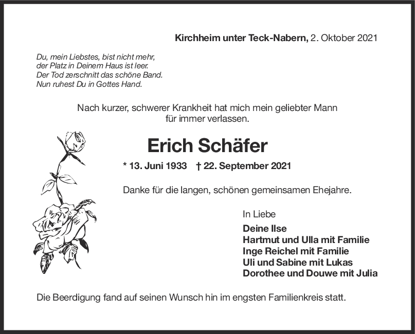 Trauer Erich Schäfer <br><p style=