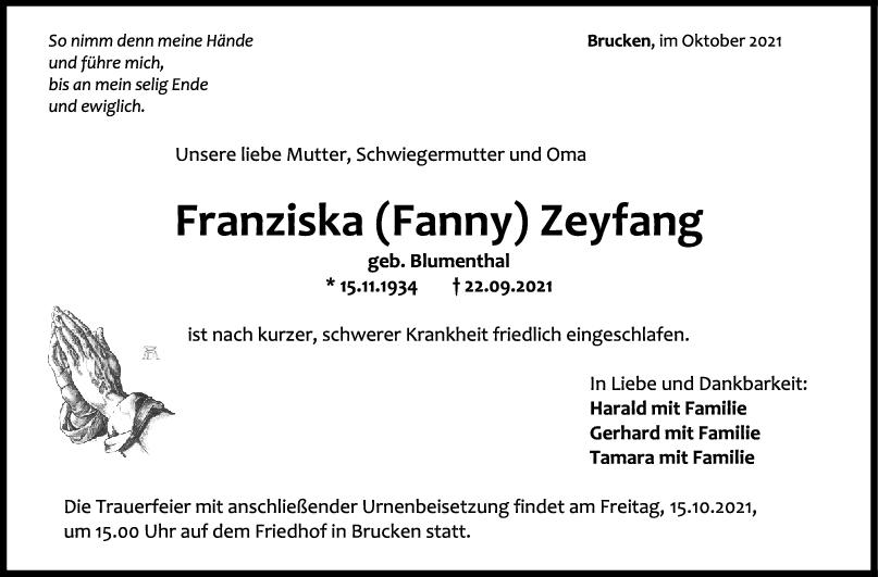 Trauer Franziska (Fanny) Zeyfang <br><p style=