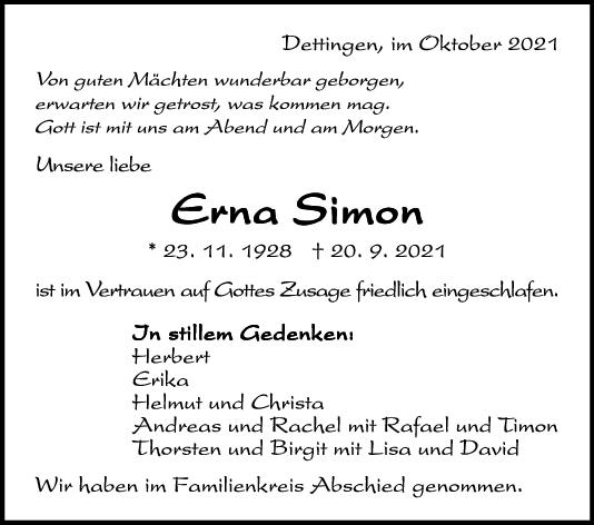 Trauer Erna Simon <br><p style=