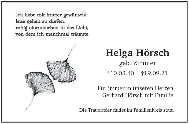 Trauer Helga Hörsch <br><p style=