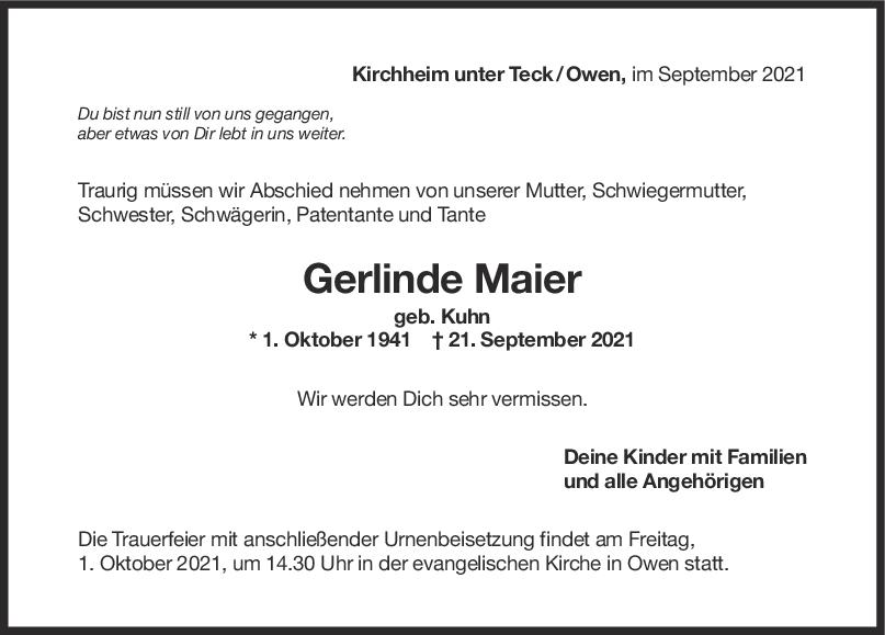 Trauer Gerlinde Maier <br><p style=
