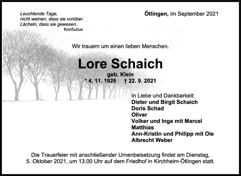 Trauer Lore Schaich <br><p style=