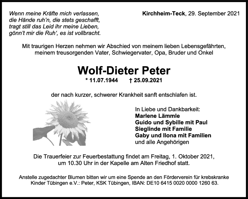 Trauer Wolf-Dieter Peter <br><p style=