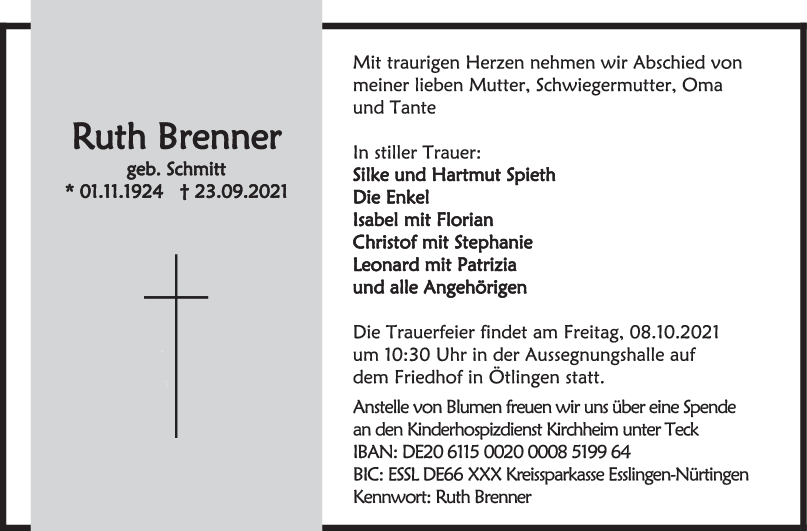 Trauer Ruth Brenner <br><p style=
