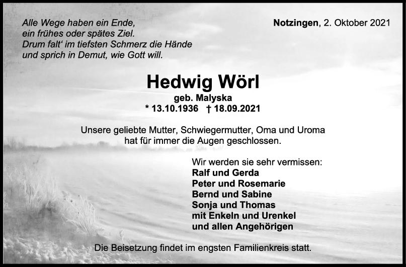 Trauer Hedwig Wörl <br><p style=
