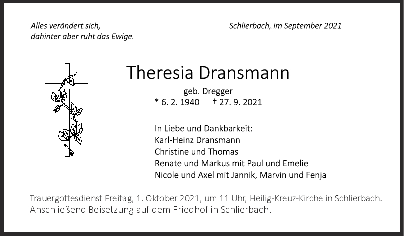 Trauer Theresia Dransmann <br><p style=