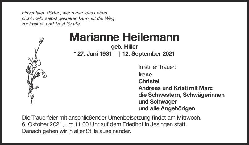 Trauer Marianne Heilemann <br><p style=
