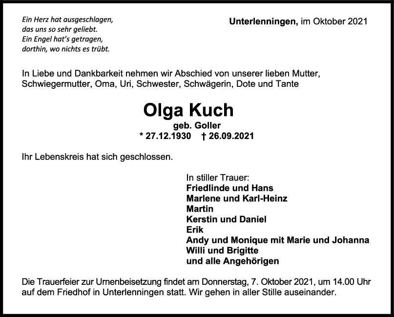 Trauer Olga Kuch <br><p style=
