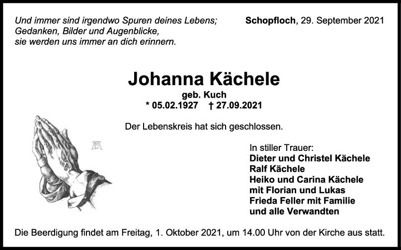 Trauer Johanna Kächele <br><p style=