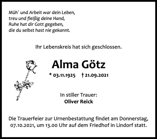 Trauer Alma Götz <br><p style=
