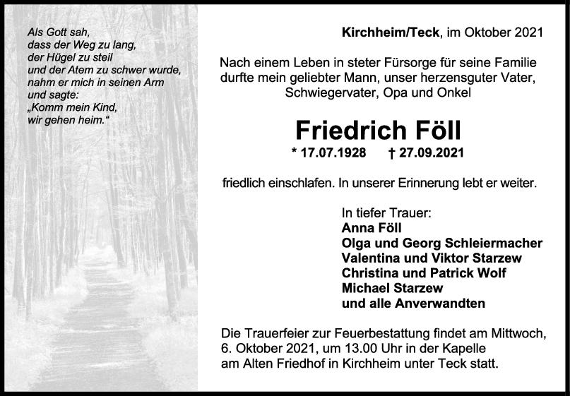 Trauer Friedrich Föll <br><p style=
