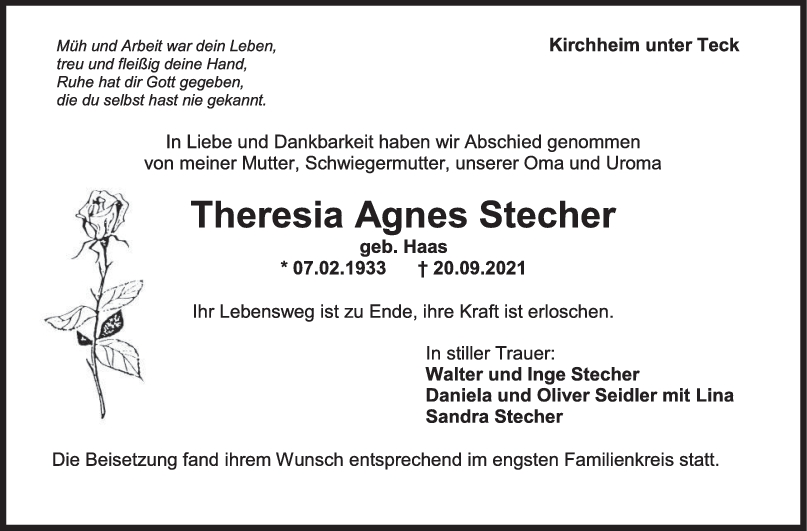 Trauer Theresia Agnes Stecher <br><p style=
