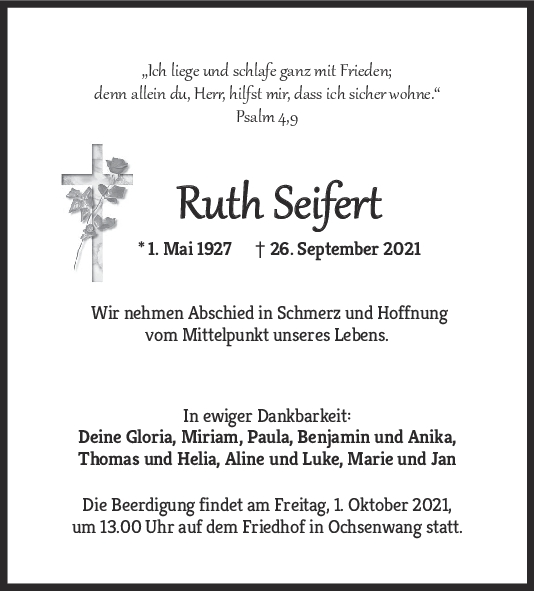 Trauer Ruth Seifert <br><p style=