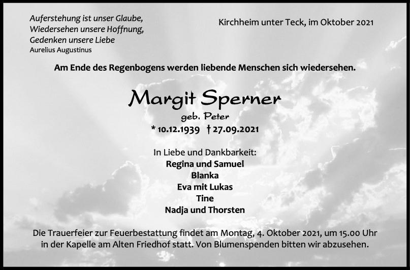 Trauer Margit Sperner <br><p style=