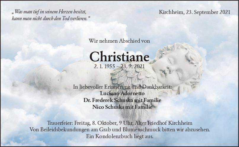 Trauer Christiane Adornetto-Schuska <br><p style=