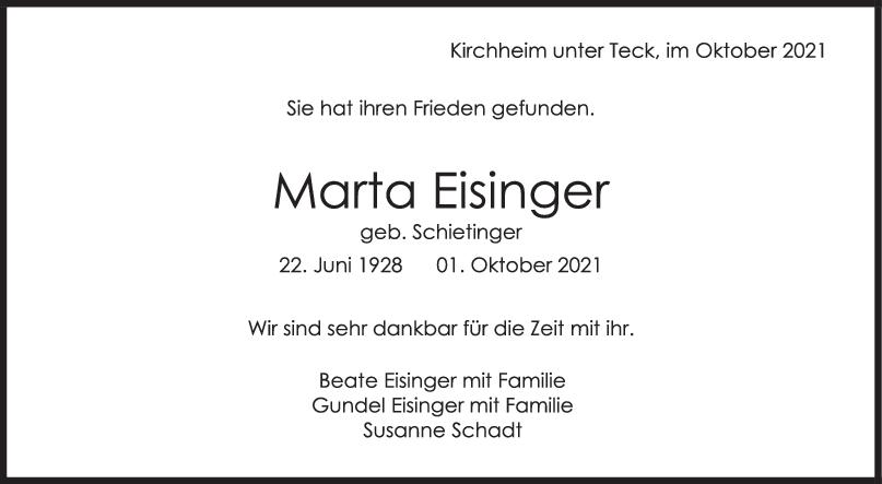 Trauer Marta Eisinger <br><p style=