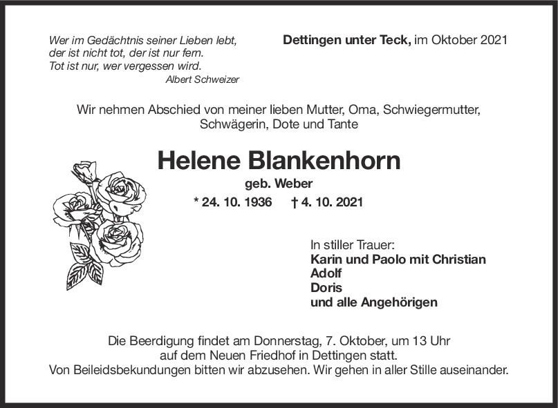 Trauer Helene Blankenhorn <br><p style=