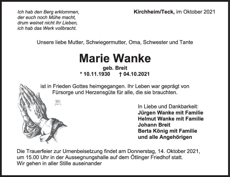 Trauer Marie Wanke <br><p style=