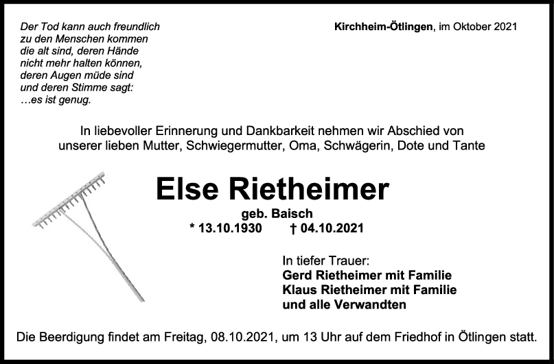 Trauer Else Rietheimer <br><p style=