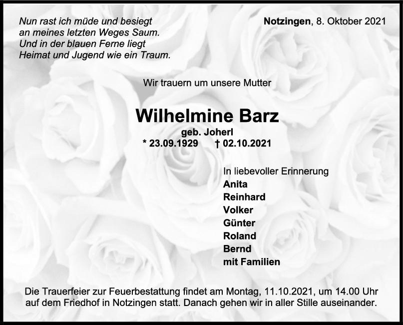 Trauer Wilhelmine Barz <br><p style=