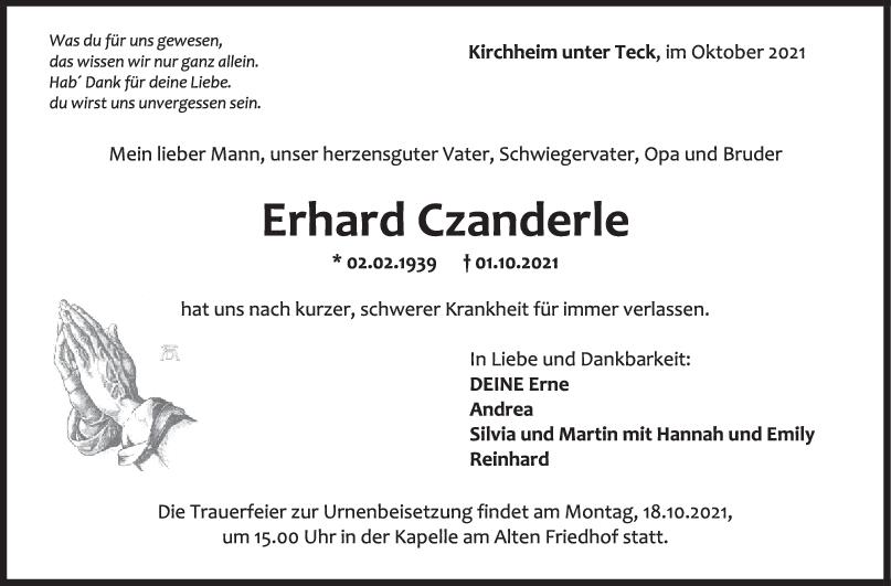 Trauer Erhard Czanderle <br><p style=