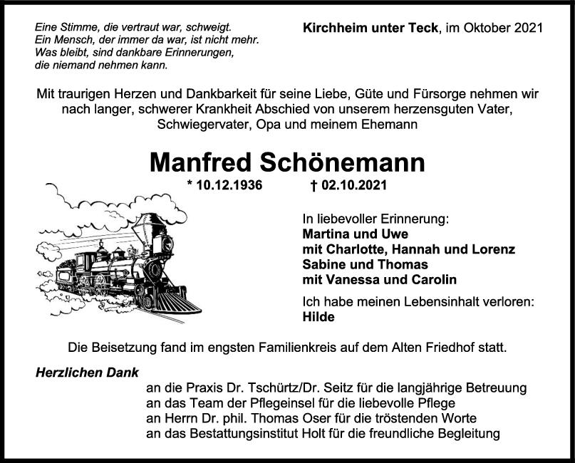 Trauer Manfred Schönemann <br><p style=