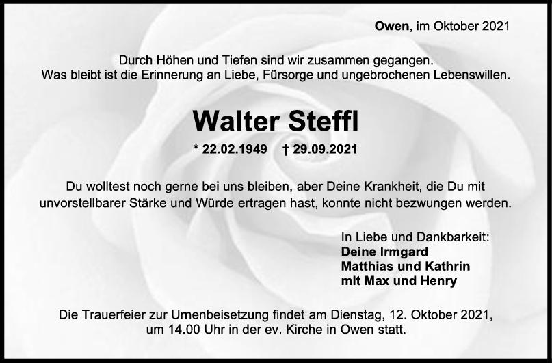 Trauer Walter Steffl <br><p style=