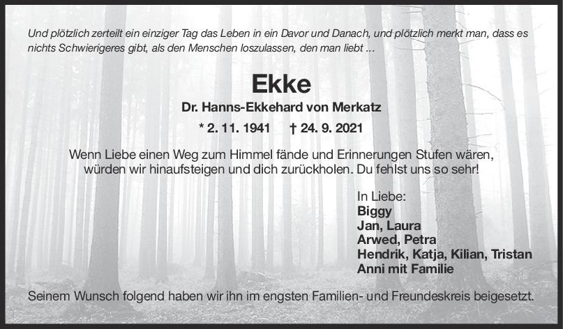 Trauer Dr. Hanns-Ekkehard von Merkatz <br><p style=
