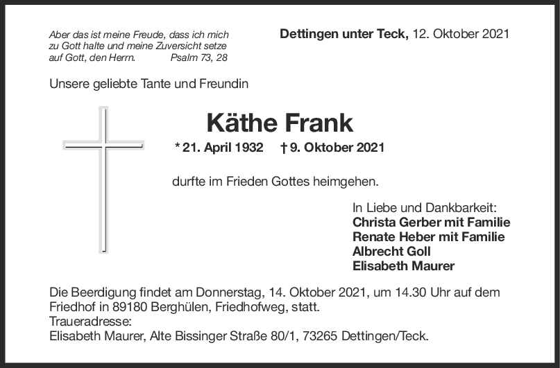 Trauer Käthe Frank <br><p style=