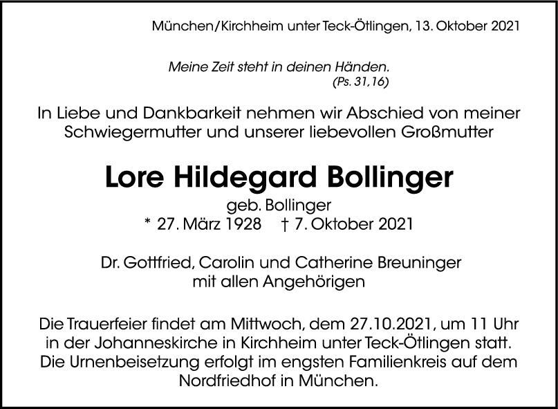 Trauer Lore Hildegard Bollinger <br><p style=